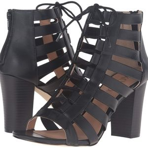 XOXO Beckie Black Cage Lace Up Heels